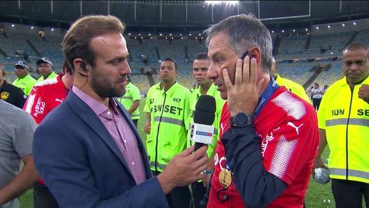 """Técnico do Independiente relata """"sonho"""" por título, repudia confusões e elogia o Fla"""