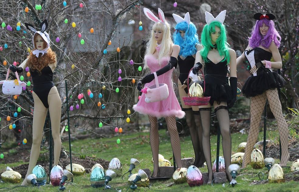 Americana destrói decoração de Páscoa de vizinho por achá-la 'sexy demais' — Foto: Kevin R. Wexler/The Record via AP