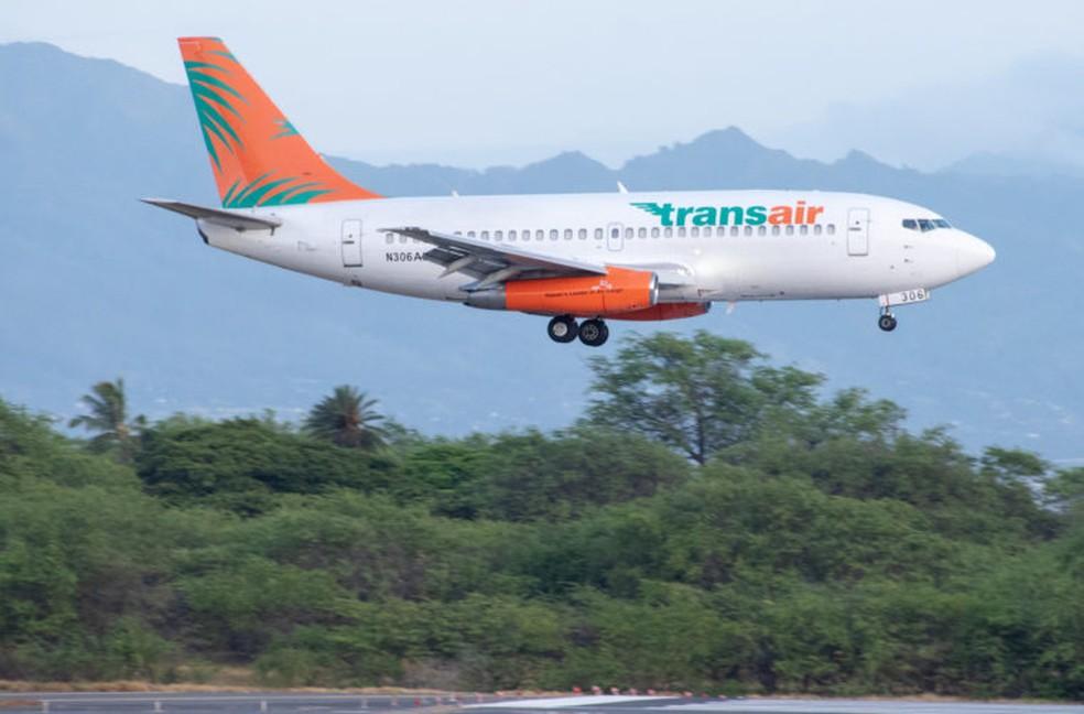 Avião de carga Boeing 737 da Transair em imagem de arquivo — Foto: Flight Radar/Reprodução