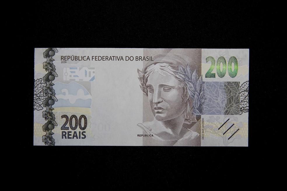 Parte da frente da nota de R$ 200 lançada nesta quarta-feira (2) pelo Banco Central — Foto: Raphael Ribeiro/BC