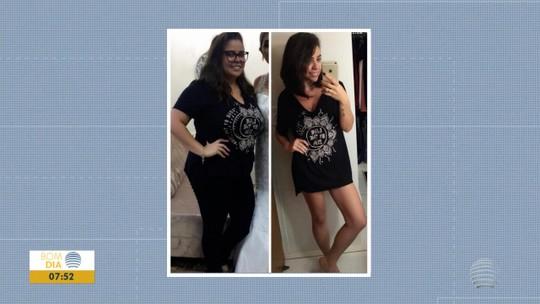 """Exercícios e """"receitinhas"""" criadas ajudam maquiadora a perder 45kg e virar referência em rede social"""
