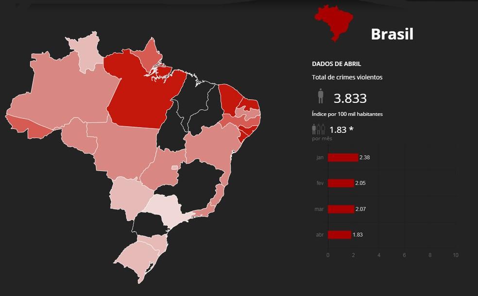 Mapa mostra quase 4 mil assassinatos no Brasil em abril (Foto: G1)