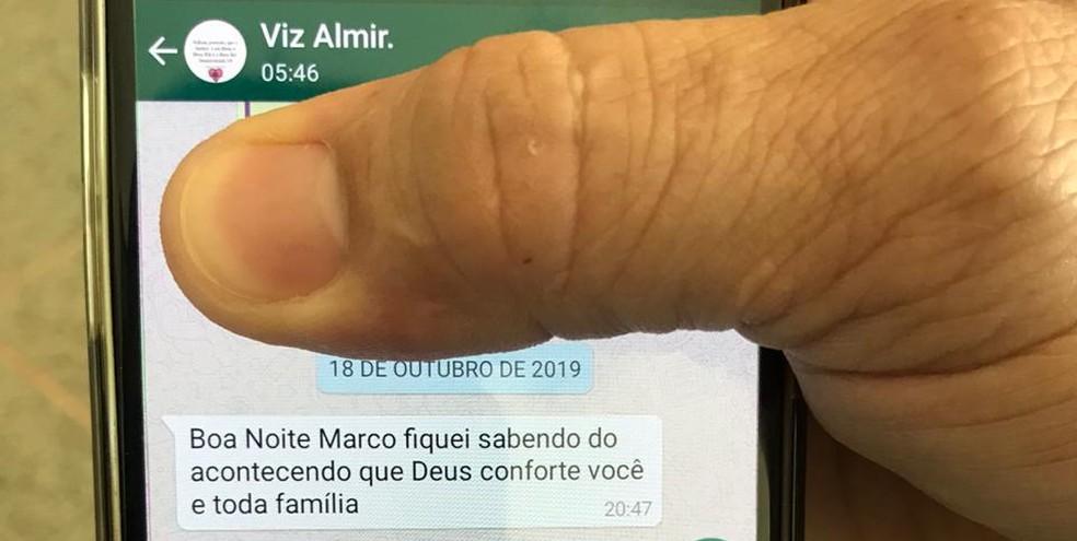Mensagem enviada por suspeito a marido de Noélia Oliveira — Foto: Afonso Ferreira/G1
