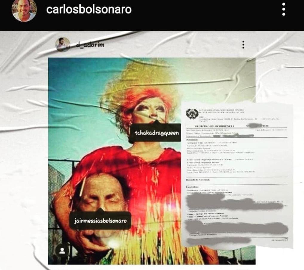 Polícia indicia artista por foto com cabeça do presidente após pedido de Carlos Bolsonaro