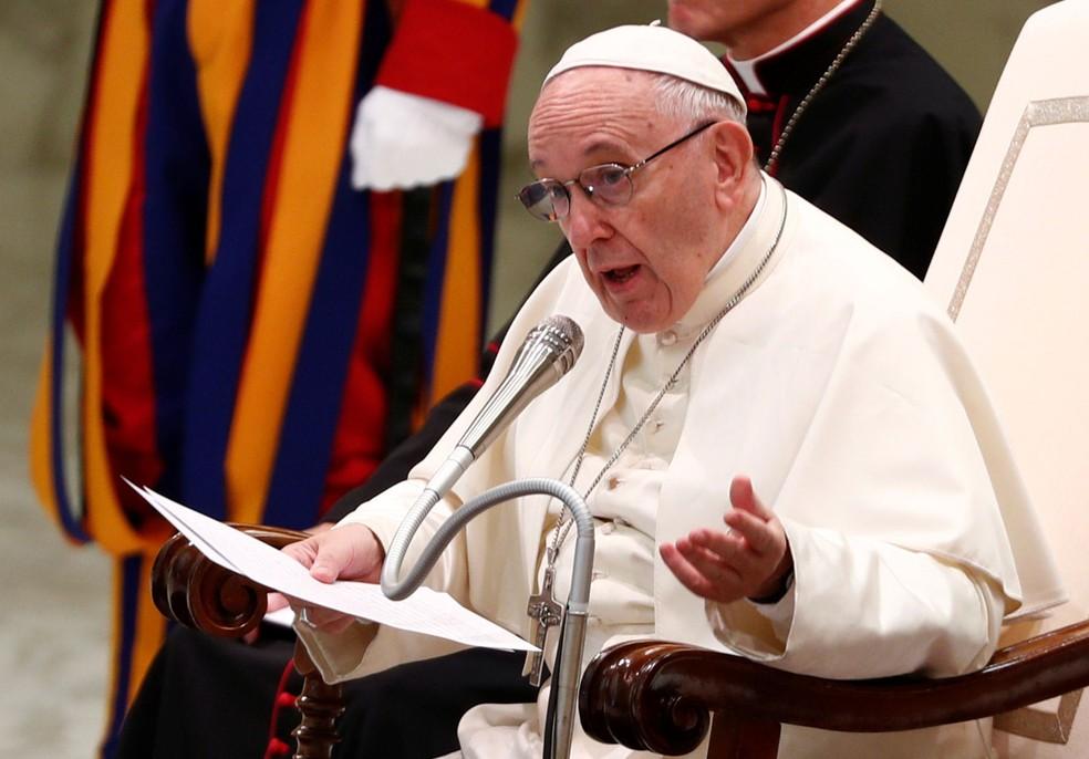 Papa Francisco participa de audiência geral no Vaticano, na quarta-feira (1º)  (Foto: Max Rossi/ Reuters)
