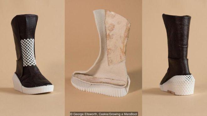 O exterior da bota é feito de micélio, enquanto o interior é um material à base de micélio com algodão e linho (Foto: GEORGE ELLSWORTH, CASKIA/GROWING A MARSBOOT)