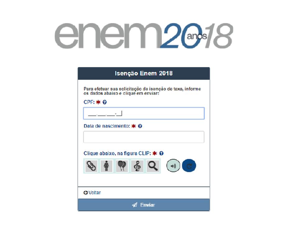 Enem 2018: tela 1 do pedido de isenção (Foto: Reprodução/ Inep)