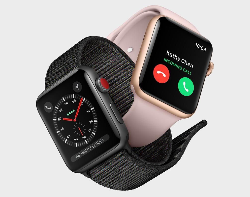 a671cada996 ... Apple Watch Series 3 é o primeiro relógio inteligente da empresa a  atender ligações telefônicas sem