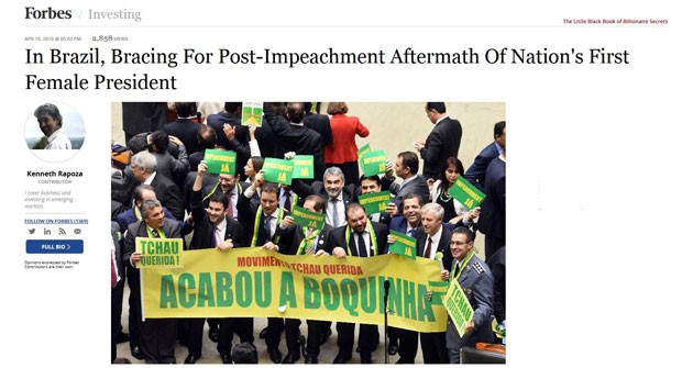 Forbes destaca processo de impeachment e critica o vice-presidente. (Foto: Reprodução/Forbes)