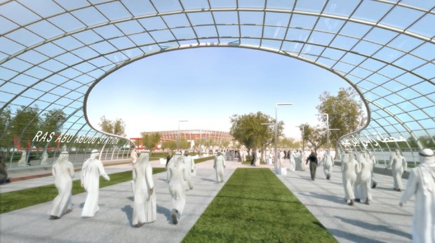 Copa do Mundo 2022: entrada do estádio desmontável (Foto: Divulgação )