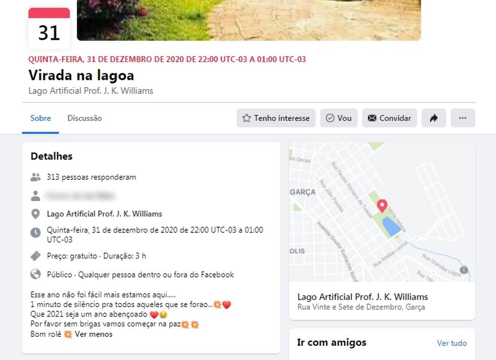 Prefeitura de Garça denuncia festa de ano novo divulgada na web — Foto: Facebook/Reprodução