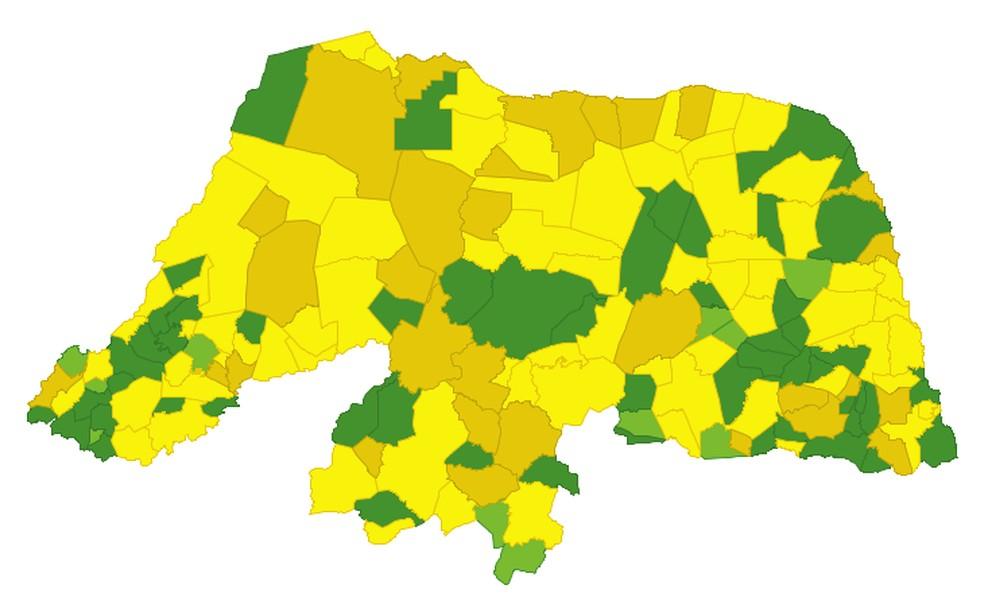 Situação da pandemia no Rio Grande do Norte: maior parte dos municípios está em nível de alerta amarelo — Foto: Sesap/Divulgação