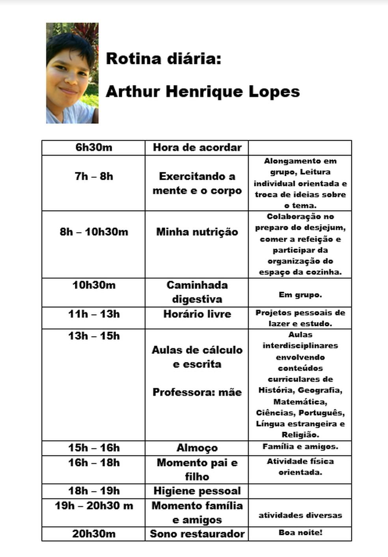 Rotina diária de Arthur, aluno que estudava em casa  — Foto: Arquivo pessoal
