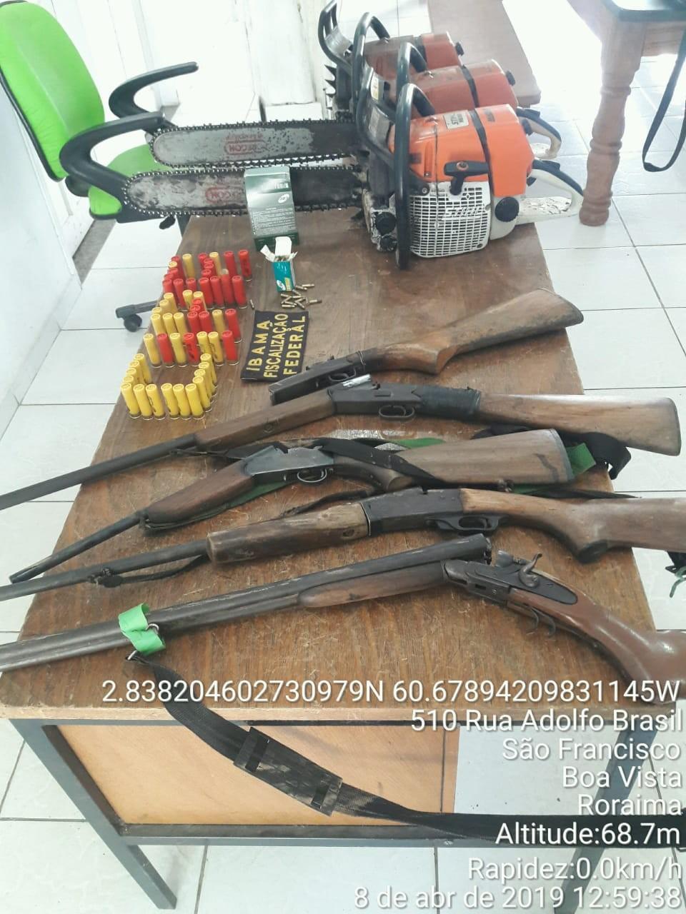 Ação apreende armas, munições e carnes de caça em acampamentos clandestinos no Sul de RR