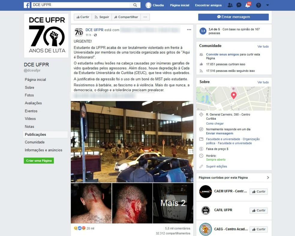 DCE usou o Facebook para comentar o assunto — Foto: Reprodução/Facebook