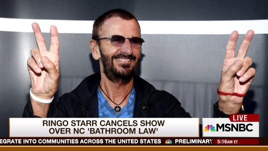 Ringo Starr cancela show na Carolina do Norte por causa de lei anti-LGBT