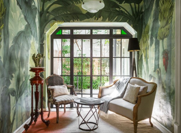 Paredes pintadas à mão na Casa Josefa, na Colônia Roma (Foto: Divulgação)