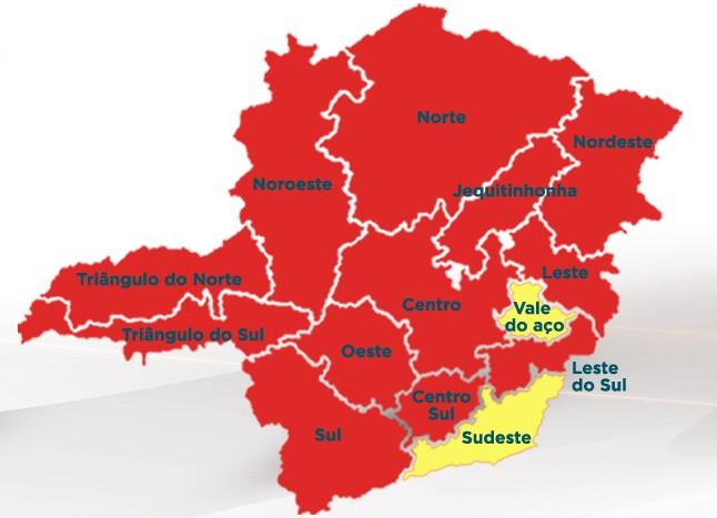 Minas Consciente: incidência de Covid cresce 13% e 12 regiões do estado estão na onda vermelha