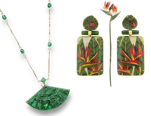 Jade esculpida: o colar Isabela Blanco e os brincos Silvia Furmanovich (Foto: Divulgação)