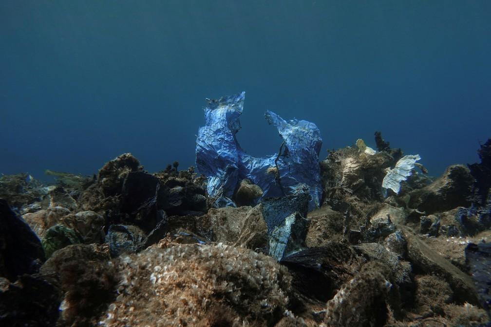 Plástico no fundo do mar perto da ilha de Andros, na Grécia, em foto de julho de 2019 — Foto: Stelios Misinas/Arquivo/Reuters
