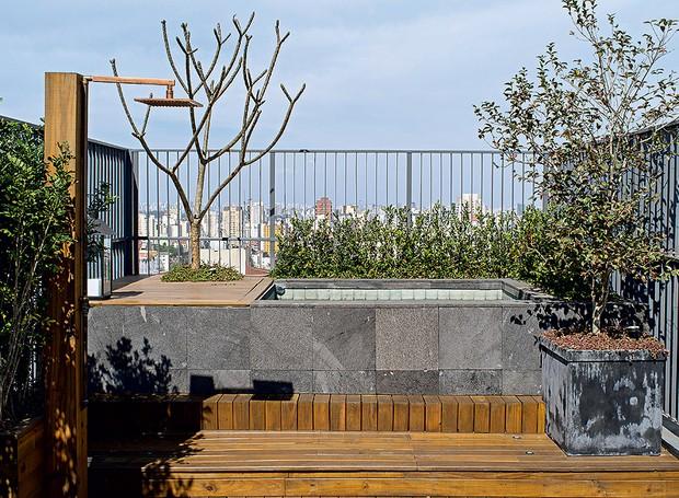 """Otávio Dias é um carioca que vive em São Paulo. Ele fez questão de morar em um apartamento com terraço. """"Adoro água e tomar sol. A piscina é minha prainha e o pôr do sol visto daqui é indescritível"""", conta. Ao lado, fica o chuveirão (Foto: Victor Affaro/Casa e Jardim)"""