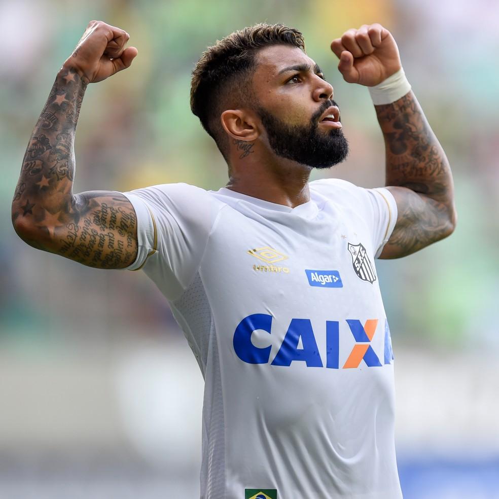 Gabigol, atacante do Santos, comemora um de seus 27 gols na temporada — Foto: Douglas Magno/BP Filmes