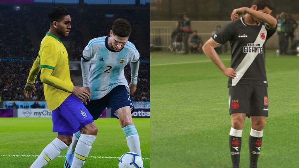 Os jogadores estão mais bonitos e reais em PES 2020 (esquerda) do que em PES 2019 (direita) — Foto: Reprodução/TechTudo