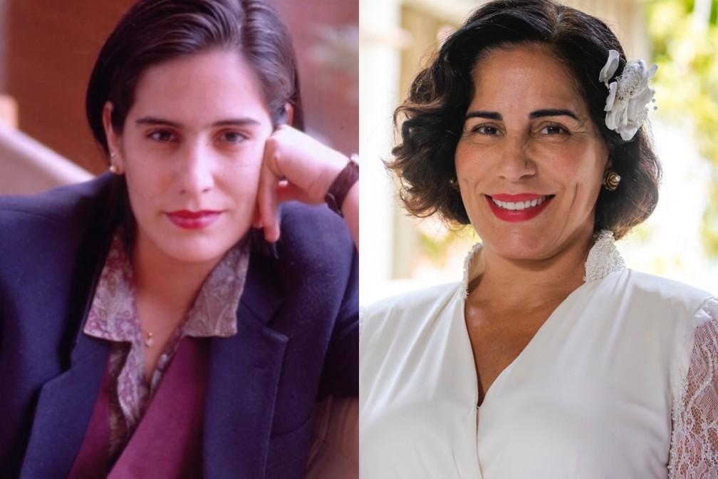 Gloria Pires em 'Vale Tudo', de 1988, e em 'Éramos Seis', de 2020 — Foto: Acervo TV Globo | Paulo Belote/Globo