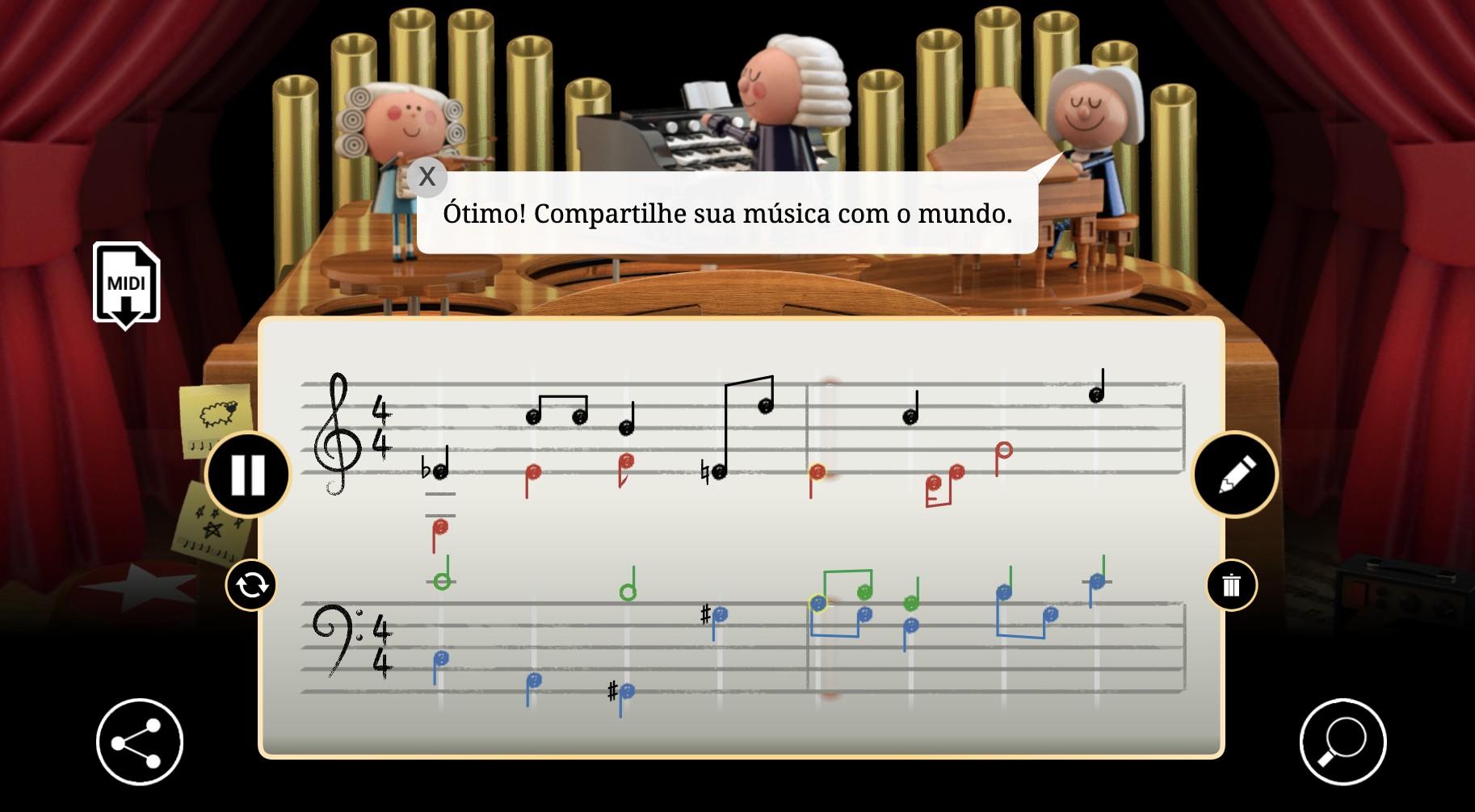 Na etapa final, é possível compartilhar o arranjo harmonizado com as composições de Bach (Foto: Google/ Reprodução)