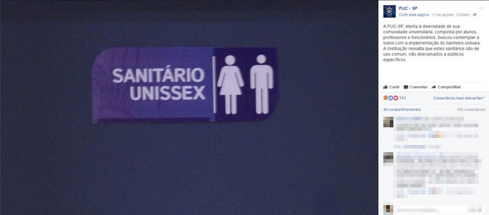 Banheiro unissex na PUC-SP (Foto: Reprodução)