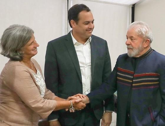 Lula, Renata Campos e o governador Paulo Câmara (Foto: Ricardo Stuckert/Divulgação)