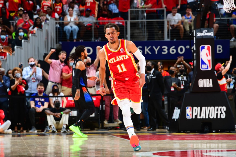 Trae Young foi o principal nome do Atlanta Hawks — Foto: Scott Cunningham/NBAE