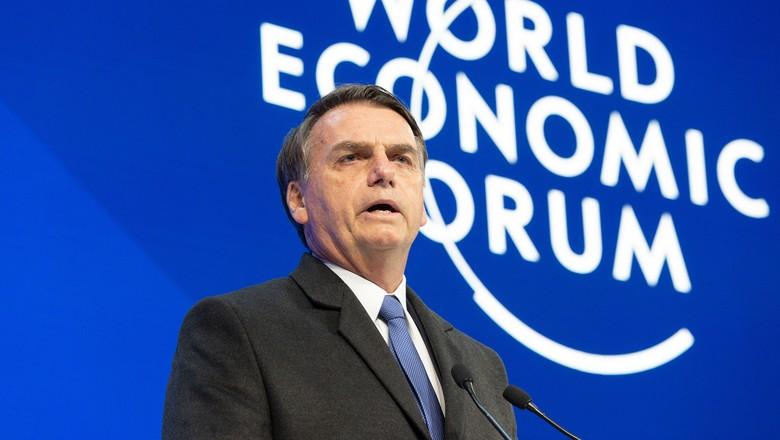 Jair Bolsonaro no Fórum Econômico Mundial em Davos, na Suíça (Foto: World Economic Forum / Christian Clavadetscher)