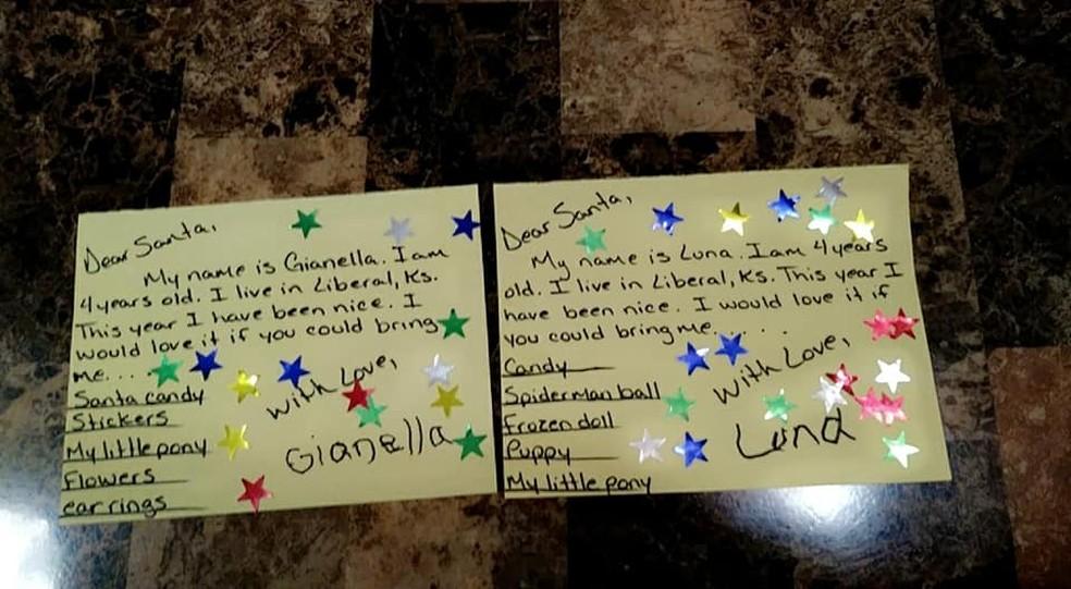 Cartas para o Papai Noel escritas pelas gêmeas Gianella e Luna, de 4 anos, em dezembro de 2020 — Foto: Reprodução/Facebook/Leticia Flores-Gonzalez