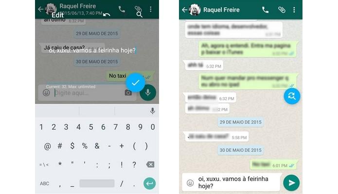 Envio de texto digitado com uso de atalhos de teclado no Android (Foto: Reprodução/Raquel Freire)