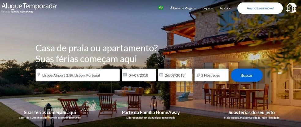 AlugueTemporada faz parte de conjunto de sites de aluguel por temporada de todo o mundo (Foto: Reprodução/AlugueTemporada)