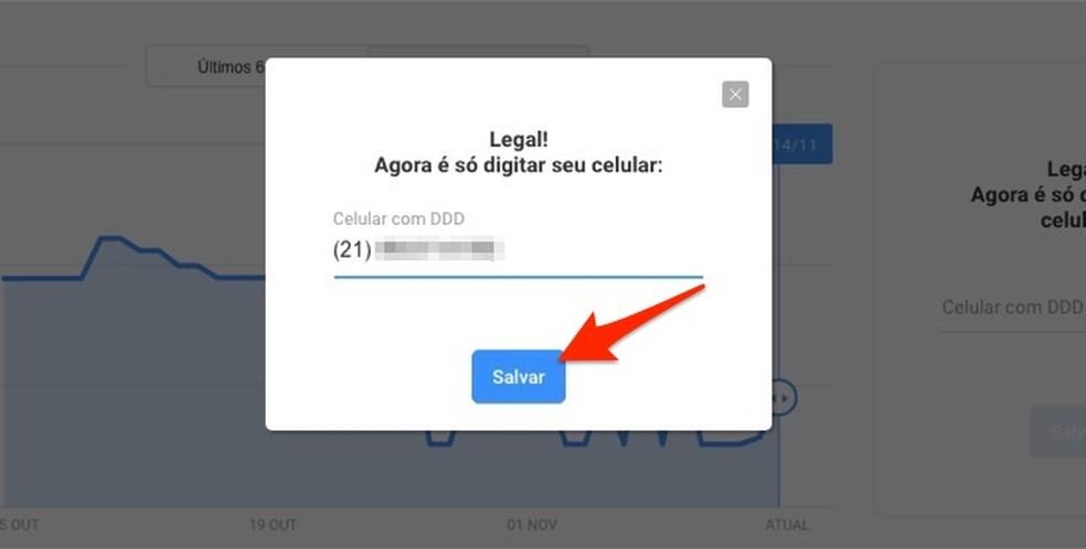 Ação para definir um número de telefone para receber alertas de preço sobre um produto monitorado pelo Zoom — Foto: Reprodução/Marvin Costa