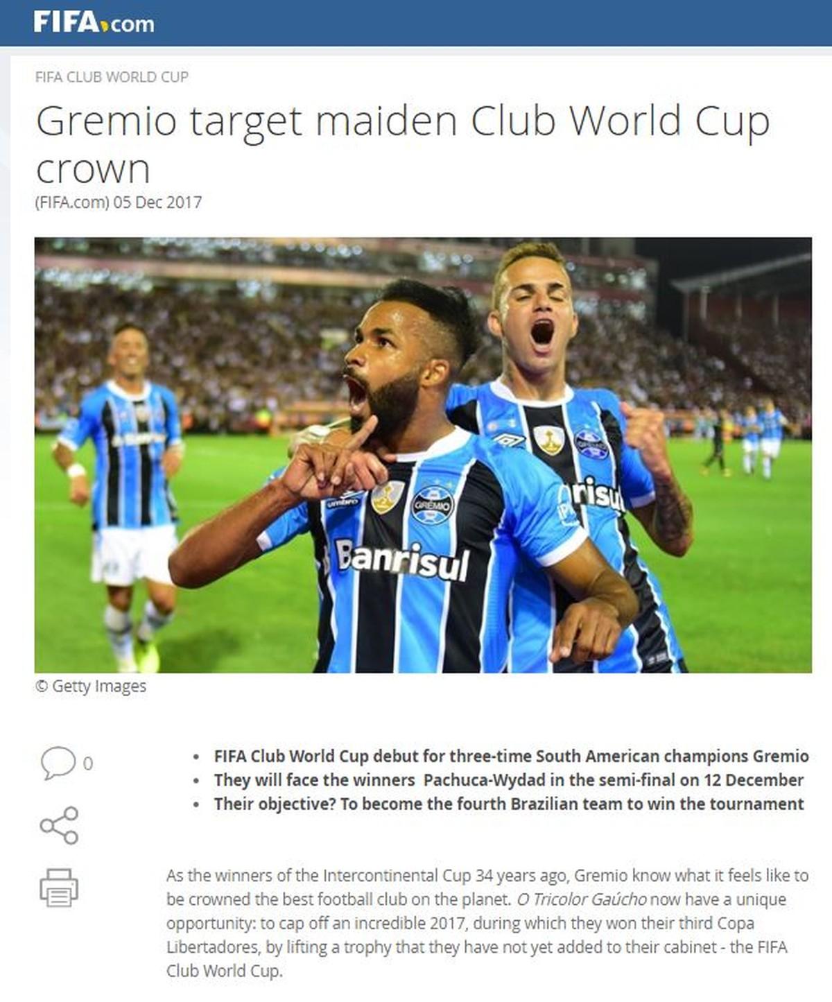 Fifa diz que Grêmio buscará 1º título do Mundial de Clubes e