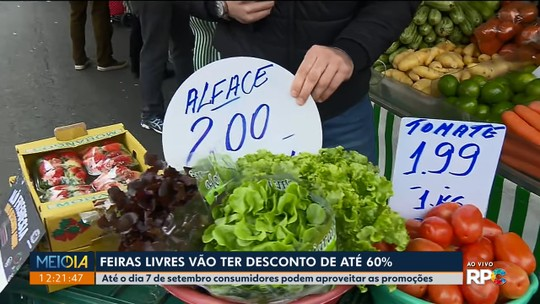Por duas semanas, produtos em feiras livres de Curitiba têm desconto de até 60%
