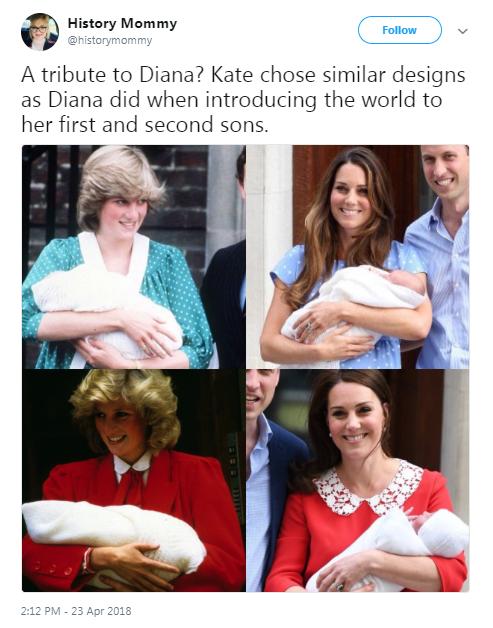 Internautas comparam vestidos de Diana e Kate Middleton ao sair da maternidade (Foto: Twitter/Reprodução)