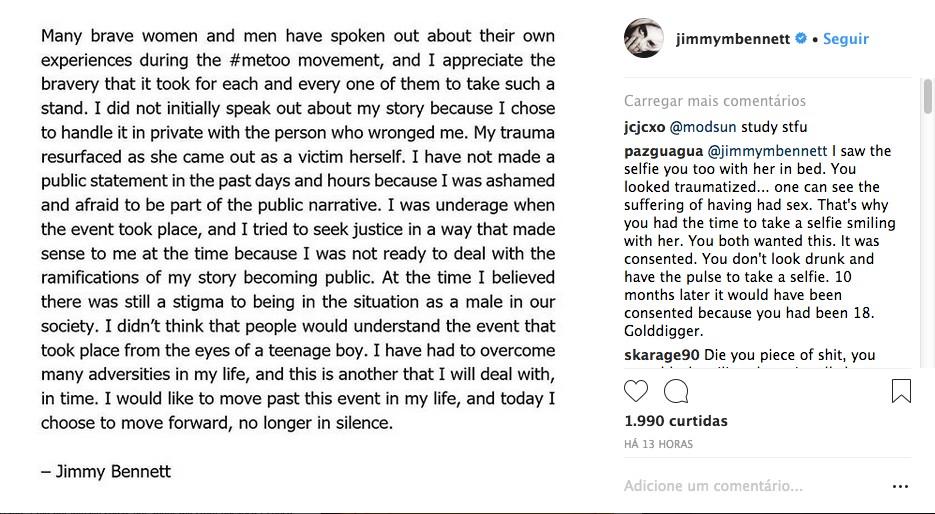 O comunicado compartilhado por Jimmy Bennett falando sobre a sua acusação de estupro contra a atriz Asia Argento (Foto: Instagram)