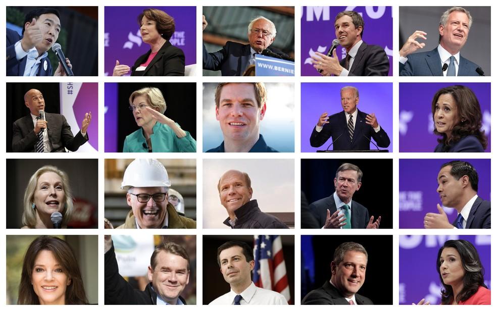 Os 20 pré-candidatos classificados para os debates e que irão concorrer à nomeação do Partido Democrata para as eleições presidenciais de 2020 nos Estados Unidos. — Foto: Montagem: G1 / Fotos: Reuters, AP, AFP e Twitter