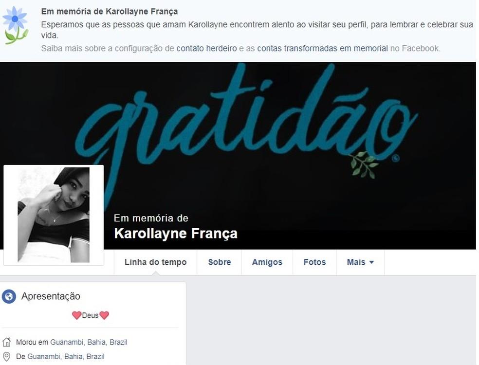 Karollayne França Gonzaga dos Santos foi morta a tiros pelo ex-namorado (Foto: Reprodução / Redes sociais)