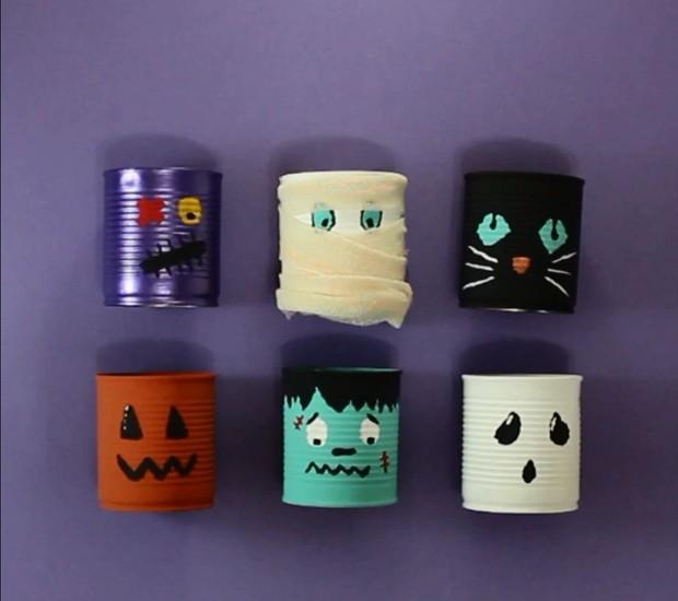 Especial Halloween: Com um pouco de tinta, latas se transformam em monstros para decorar a casa para o dia das bruxas (Foto: Casa e Jardim)