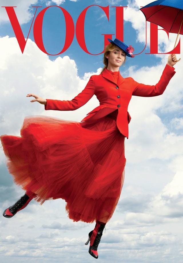 Emily Blunt como Mary Poppins na capa da edição de dezembro da Vogue americana (Foto: Reprodução/ Vogue)