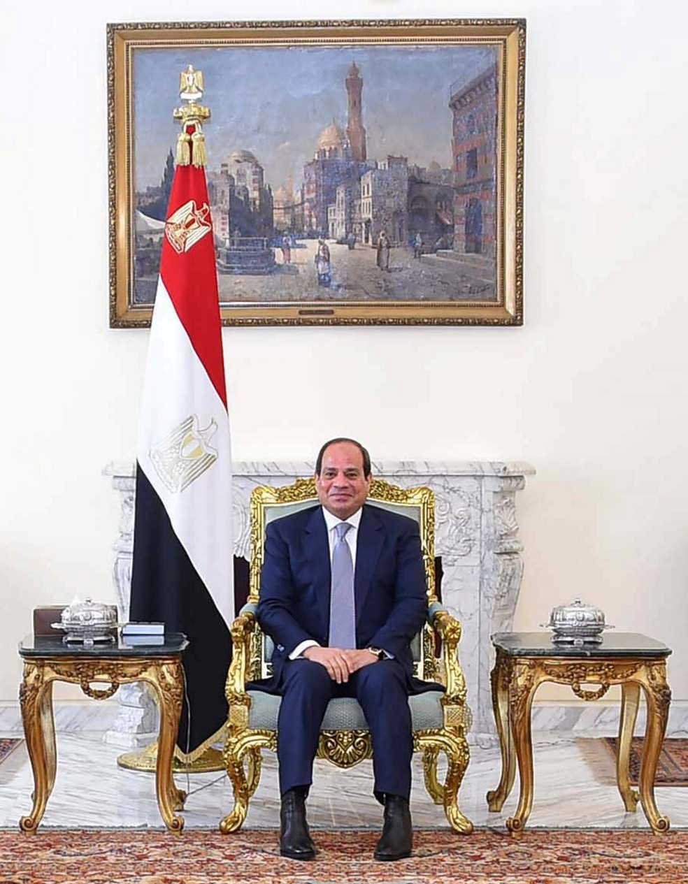 -  O presidente do Egito, Abdel Fattah al-Sisi, no palácio presidencial, no Cairo  Foto: The Egyptian Presidency/Handout via REUTERS