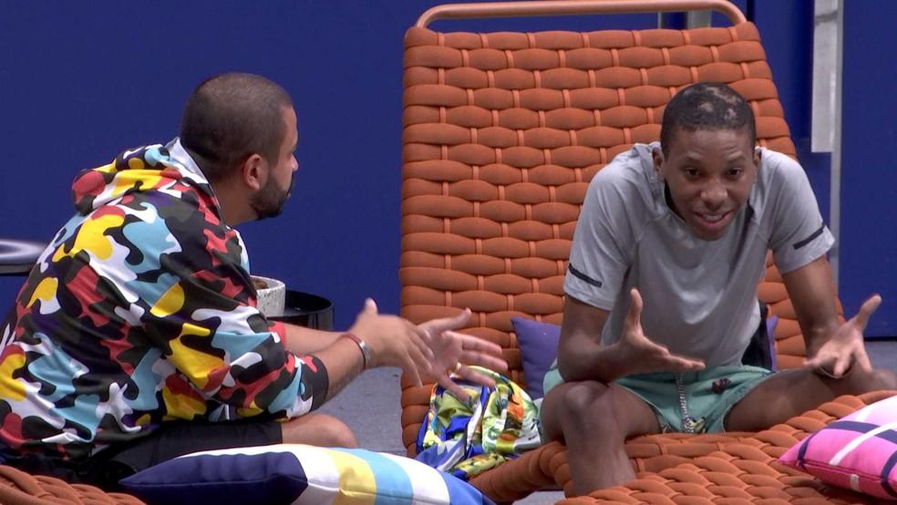 Lucas fala para Projota: 'Não fui falso com você' — Foto: Globo