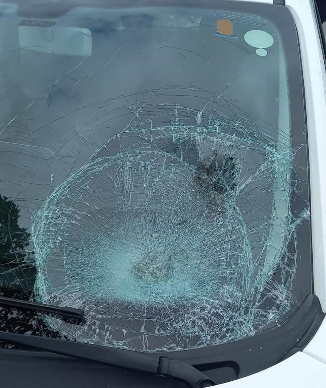 Carro envolvido no atropelamento ficou com o vidro rachado — Foto: PRF/Divulgação