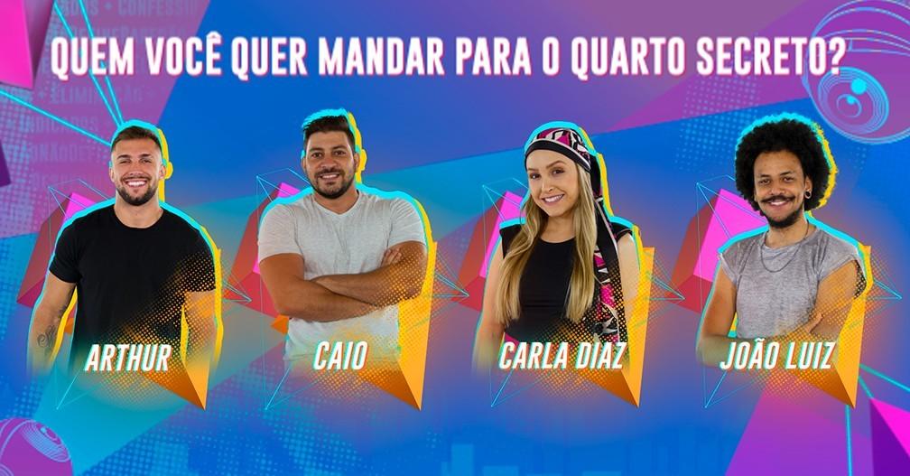 'BBB21': Arthur, Caio, Carla Diaz e João Luiz formam paredão falso