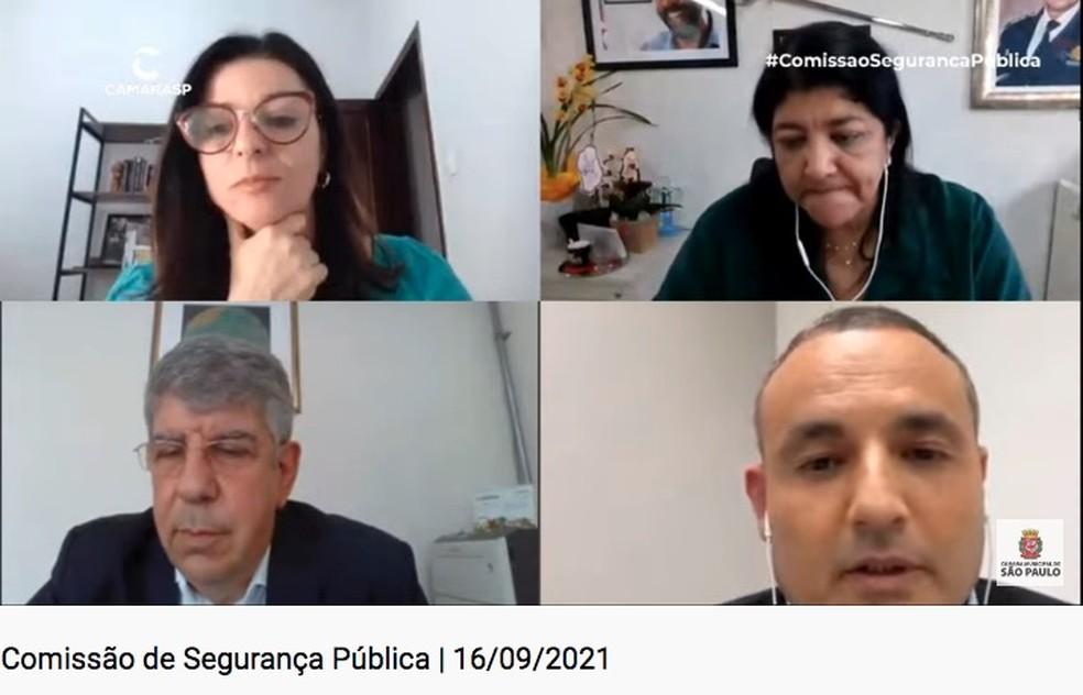 A secretária municipal de Segurança Urbana, Elza Paulina de Souza, durante a reunião da Comissão de Segurança Pública da Câmara Municipal de SP.  — Foto: Reprodução